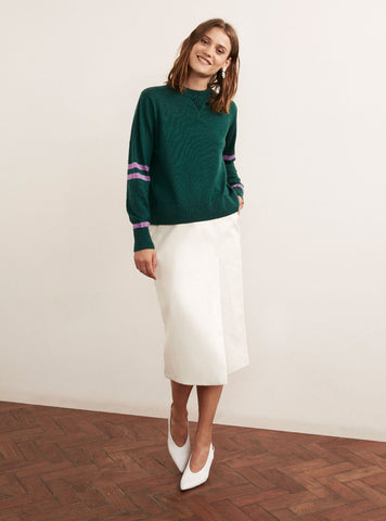 Florrie Green Merino Crew Neck Jumper by KITRI Studio