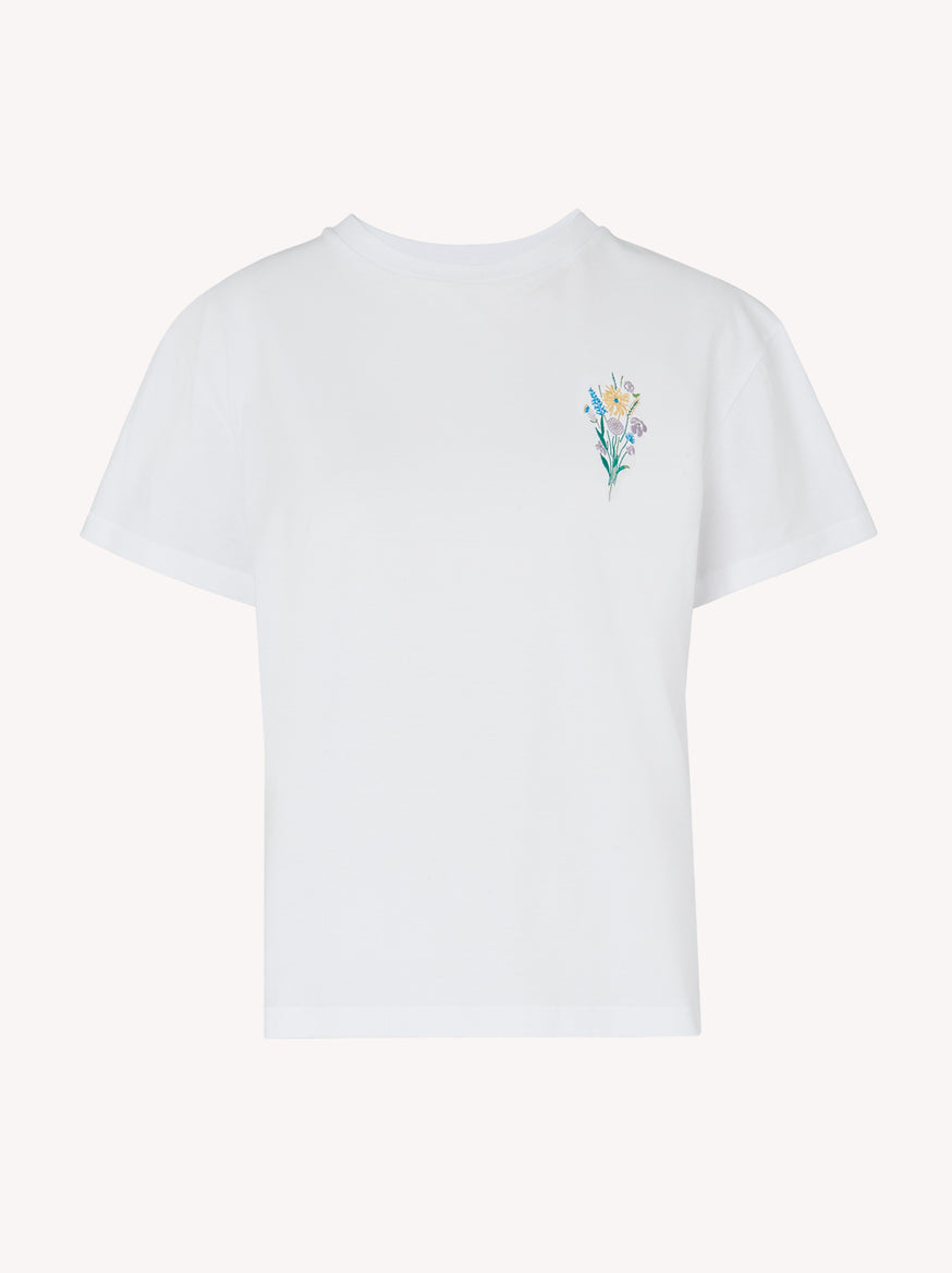 Flower White Cotton Embroidered T-shirt by KITRI Studio