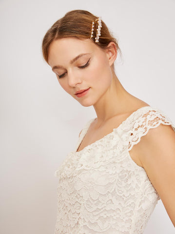 Fontana Ivory Lace Midi Dress by KITRI Studio