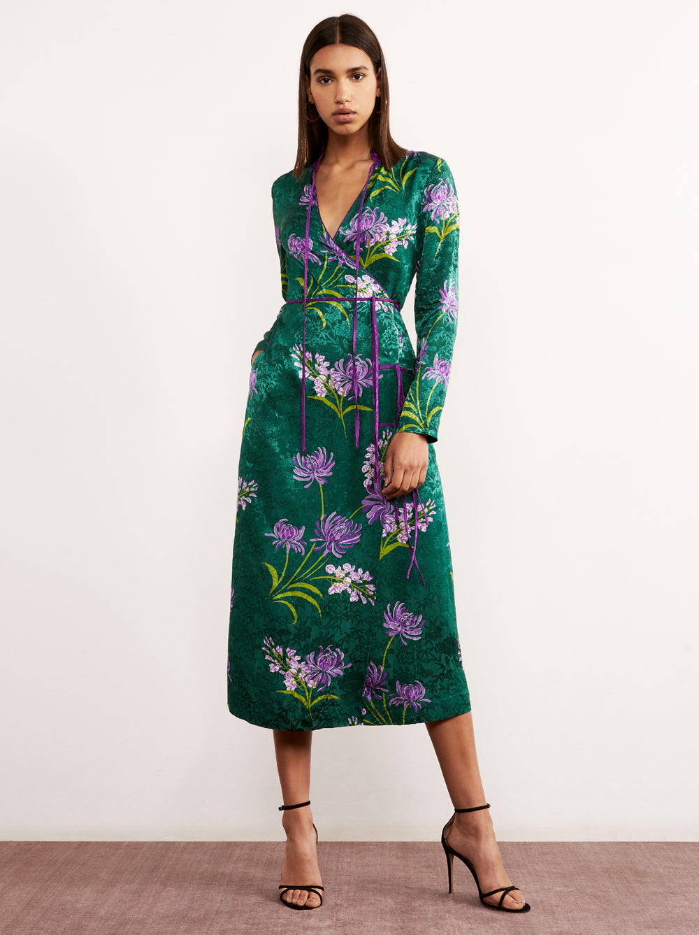 f40c47734da Frida Green Floral Print Midi Wrap Dress by KITRI Studio ...