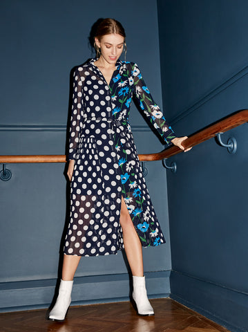 Gabriella Spot Print Pleated Shirt Dress by KITRI Studio