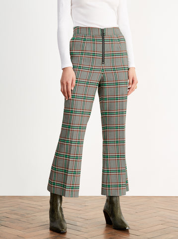 Geiden Check Cropped Flare Trousers