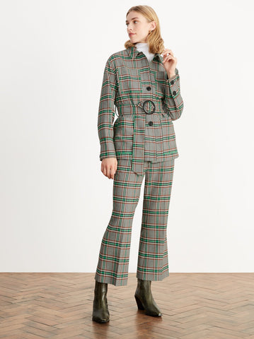 Geiden Check Cropped Flare Trousers by KITRI Studio