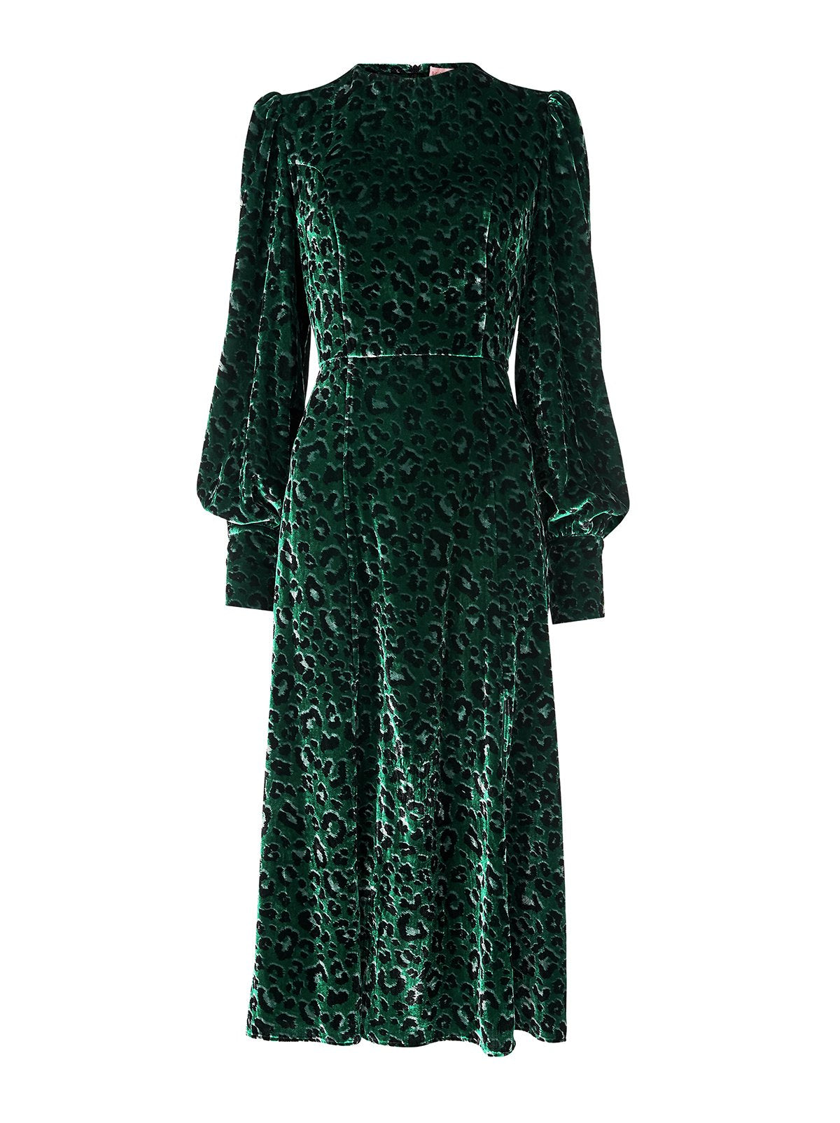 Gloria Green Leopard Print Velvet Midi Dress by KITRI Studio