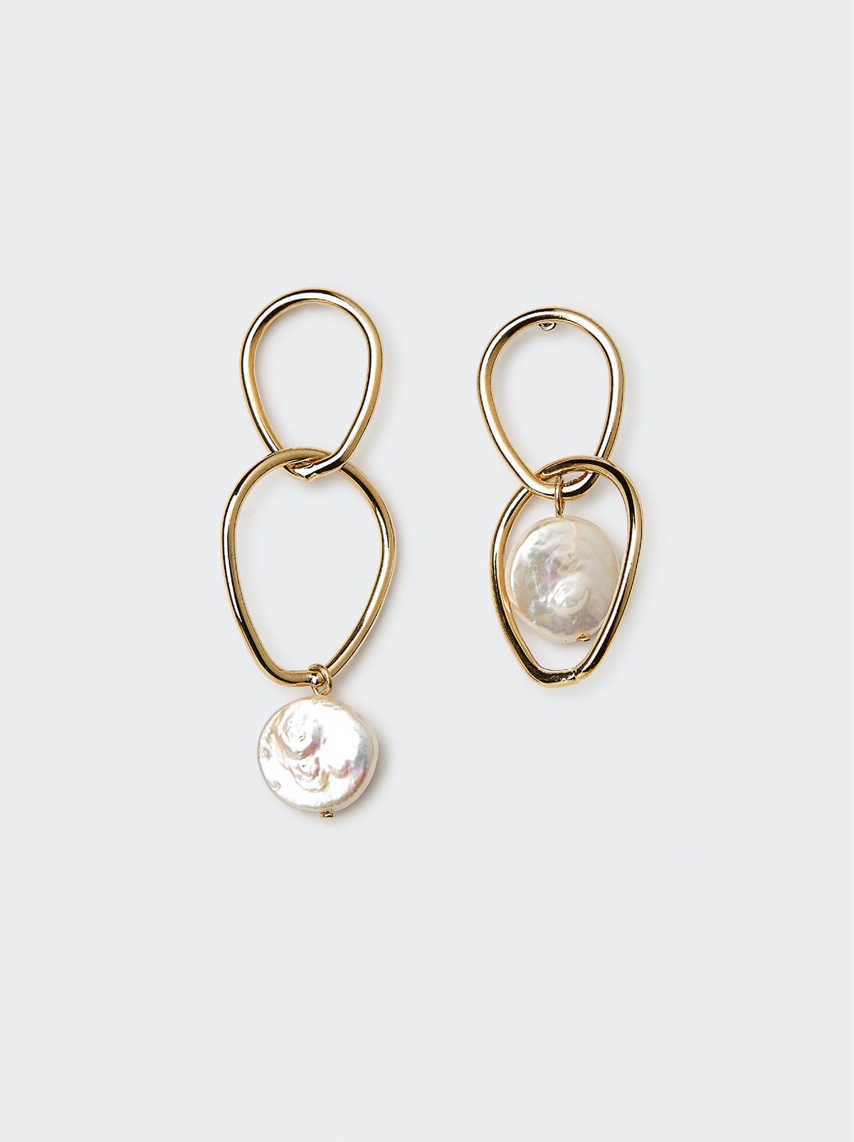 Gold and Pearl Circle Drop Earrings