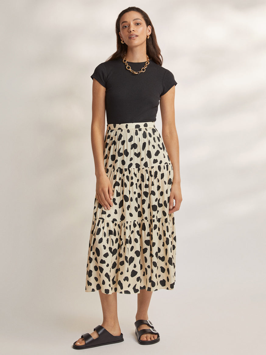 Harley Animal Spot Tiered Skirt  by KITRI Studio
