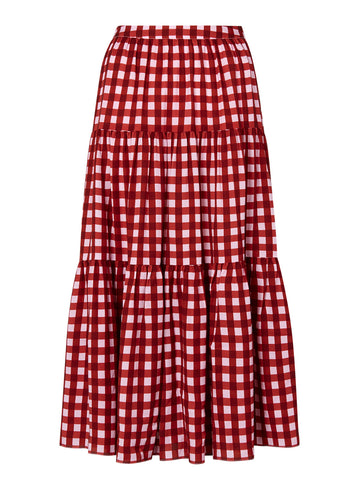 Harley Pink Checked Tiered Skirt by KITRI Studio
