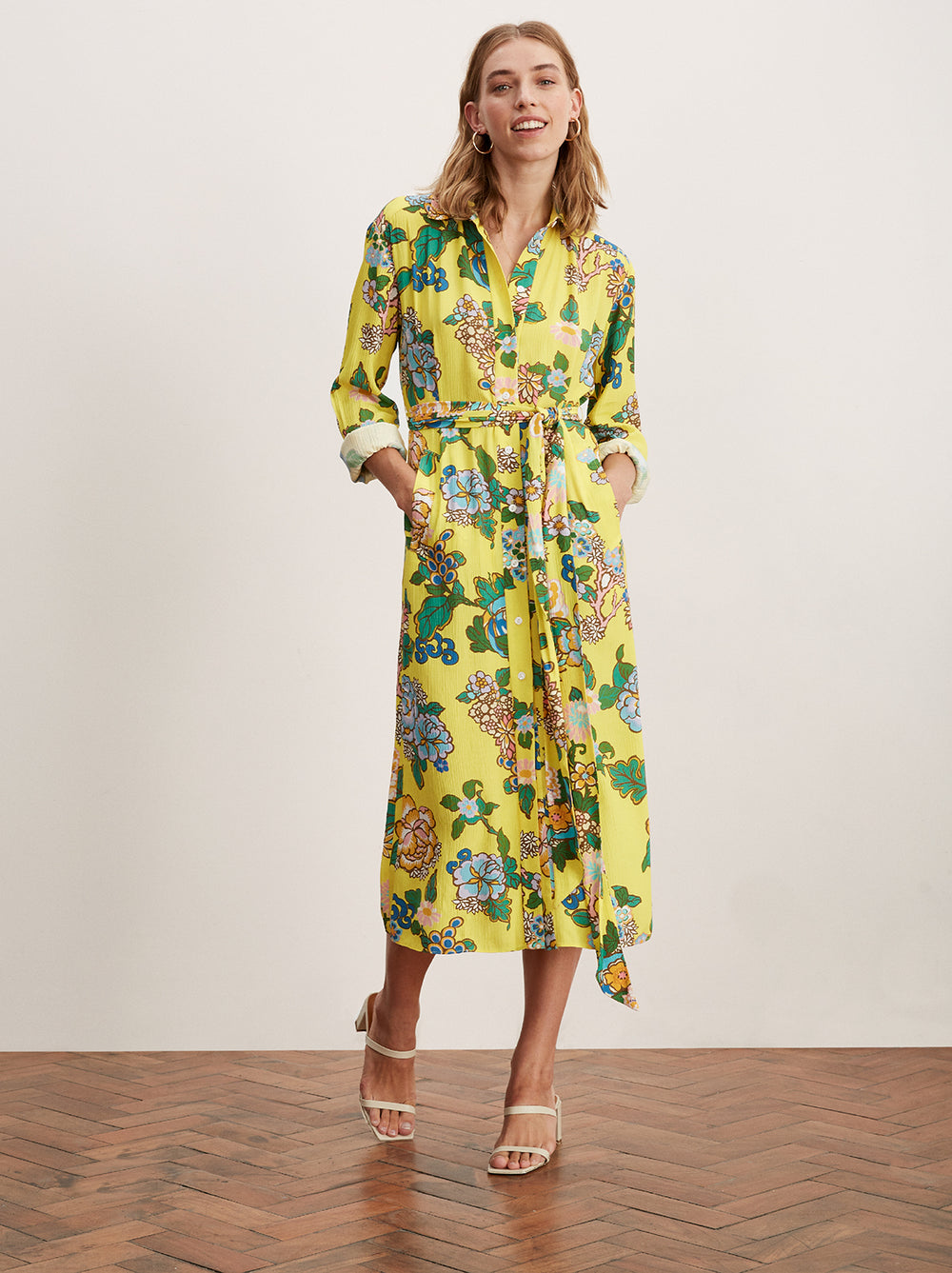 Henley Yellow Printed Shirt Dress by KITRI Studio