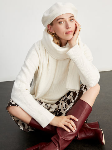 Henriette Ivory Knit Rollneck Jumper by KITRI Studio