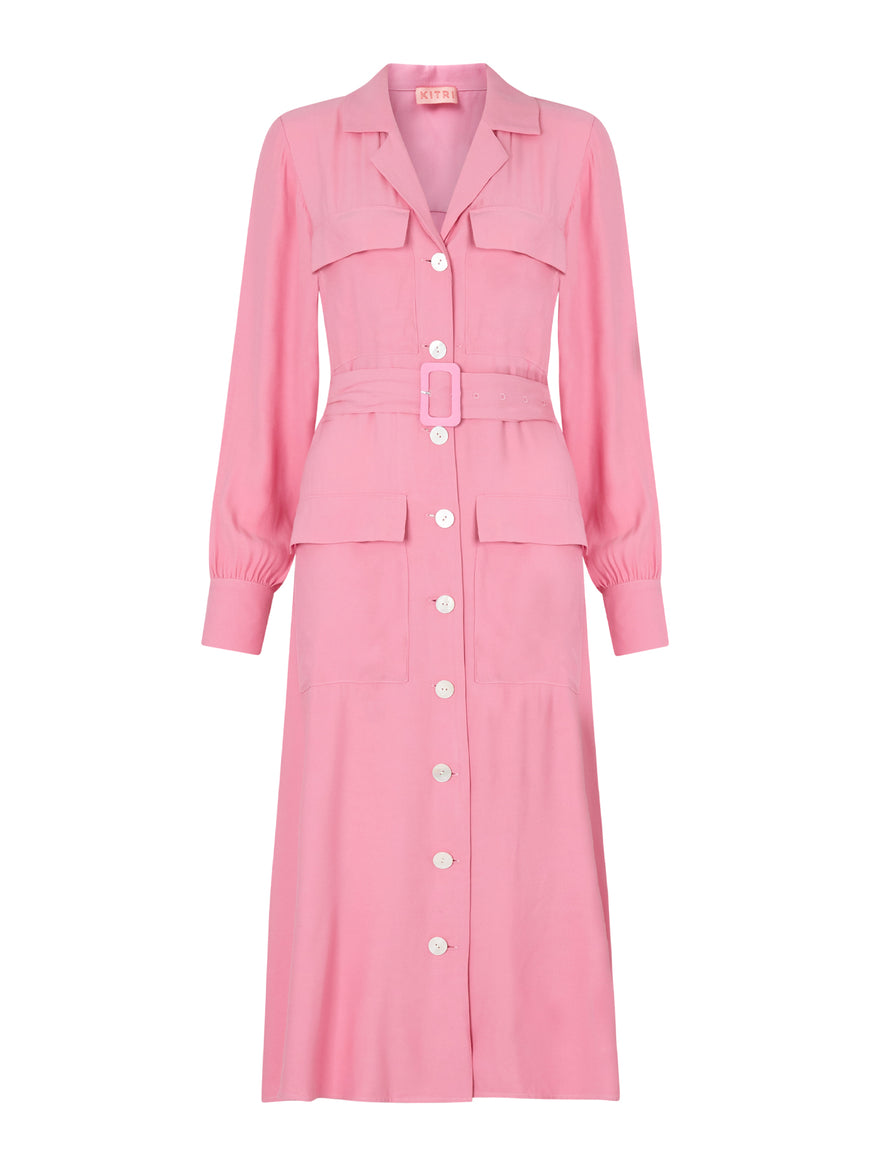 Irina Pink Shirt Dress by KITRI Studio