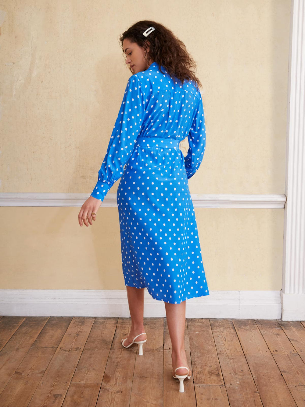 Irina Blue Polka Dot Shirt Dress by KITRI Studio