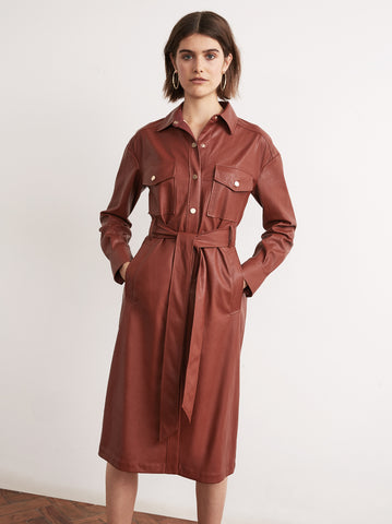 Jacqueline Brown Vegan Leather Shirt Dress by KITRI Studio