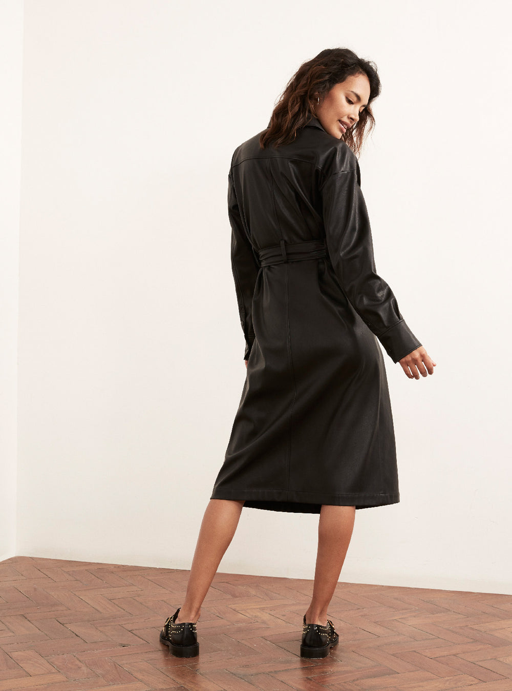 Jacqueline Black Vegan Leather Shirt Dress by KITRI Studio