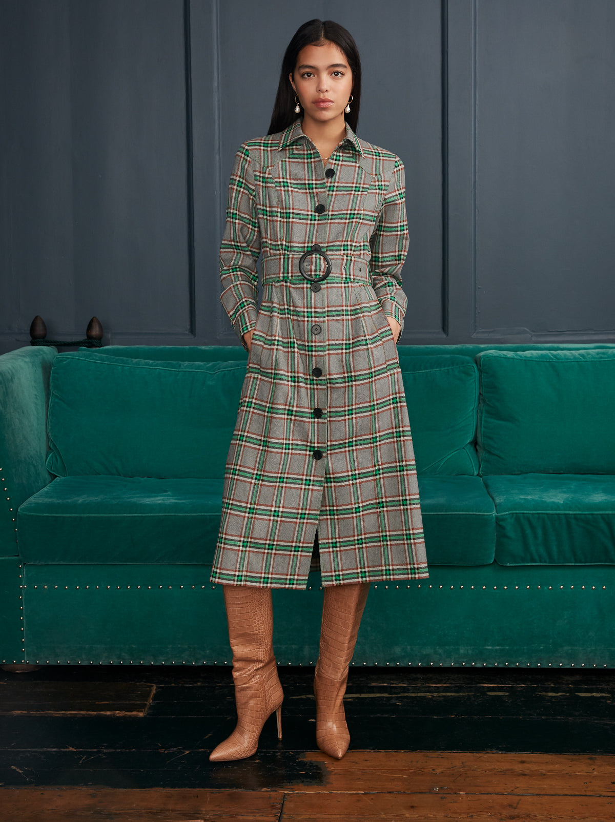 Jeanette Check Belted Jacket Dress by KITRI Studio