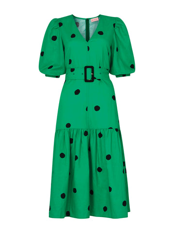 Jenny Green Polka Dot Linen Dress