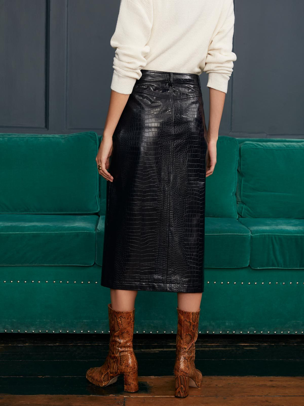 Jill Mock Croc Skirt by KITRI Studio