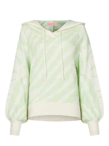Jordana Mint Animal Alpaca Blend Knit Hoody
