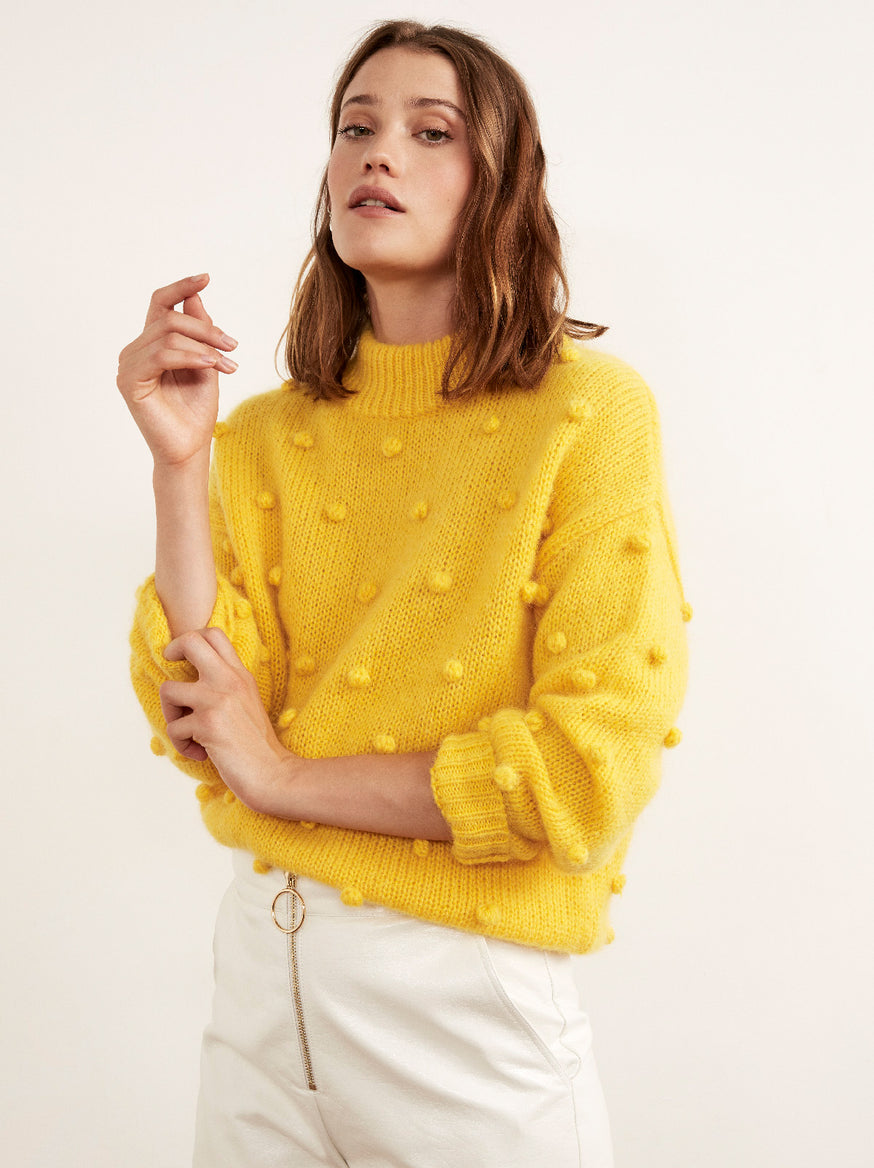 Josephine Yellow Mohair Bobble Sweater by KITRI Studio