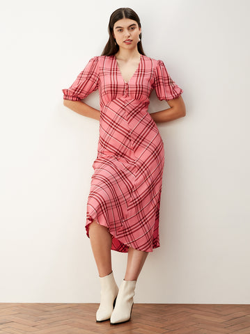 Joy Pink Check Tea Dress by KITRI Studio