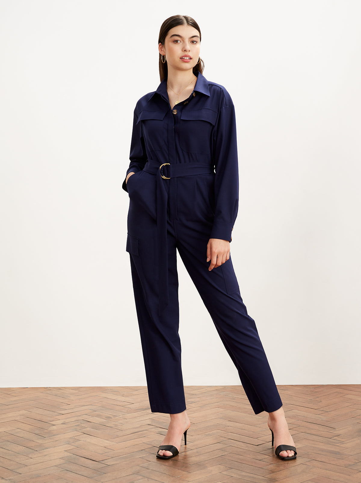 Jule Navy Oversized Boiler Suit by KITRI Studio