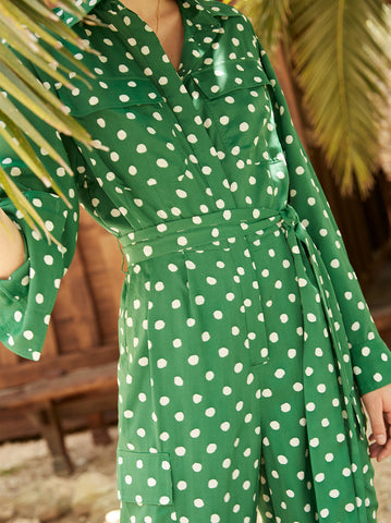 Jule Green Polka Dot Oversized Boiler Suit by KITRI Studio