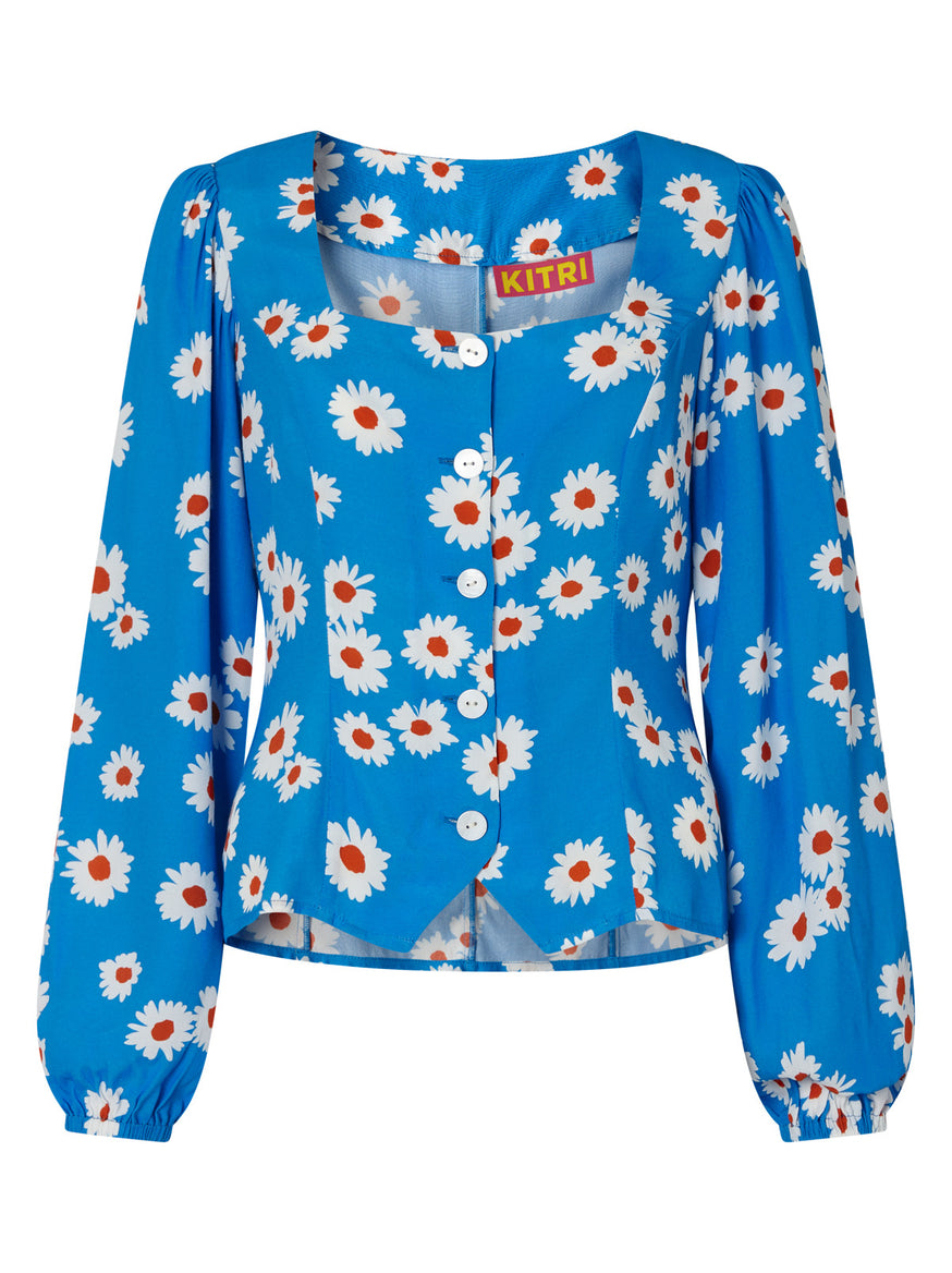 Justine Blue Daisy Top by KITRI Studio