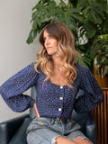 Justine Navy Polka Dot Square Neck Top