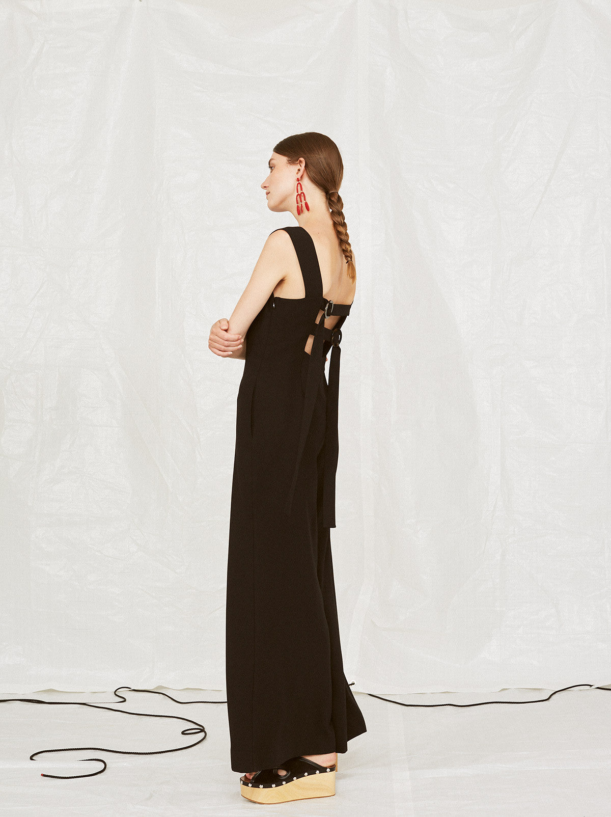 Peggy Buckle Back Black Wide Leg Jumpsuit by KITRI Studio