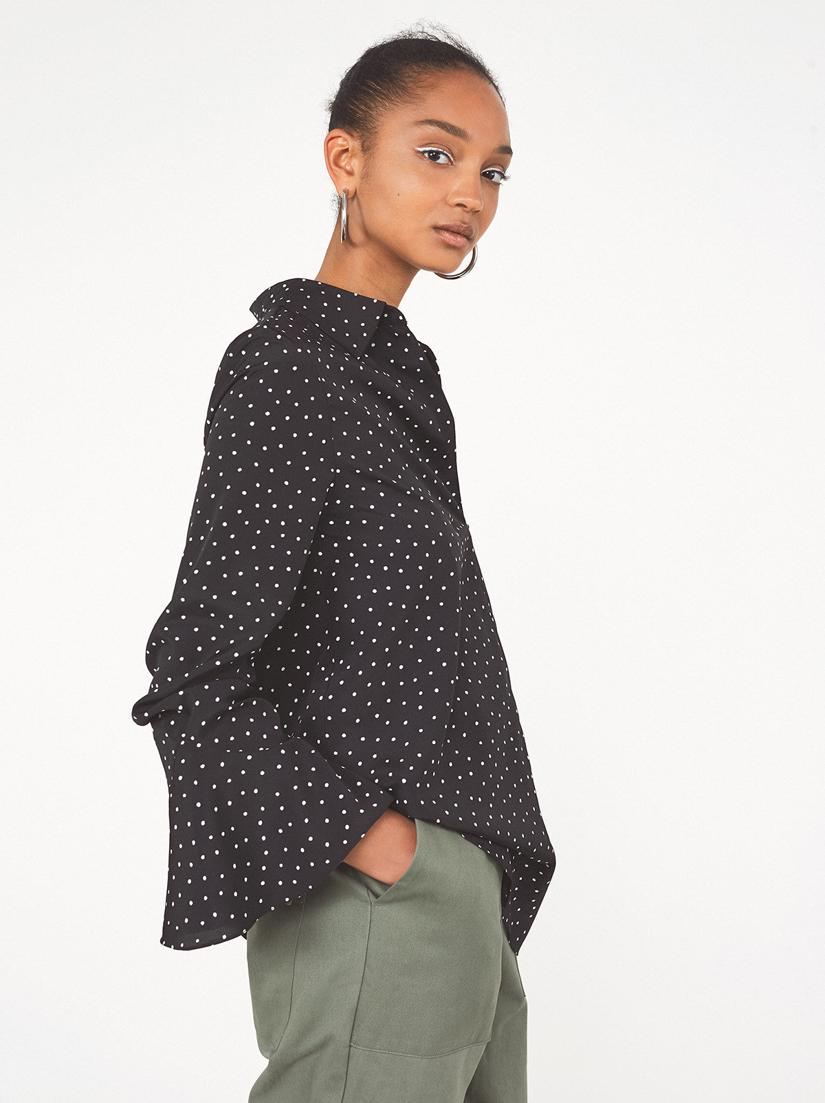 Acosta Black Polka Dot Ladies Blouse by KITRI Studio