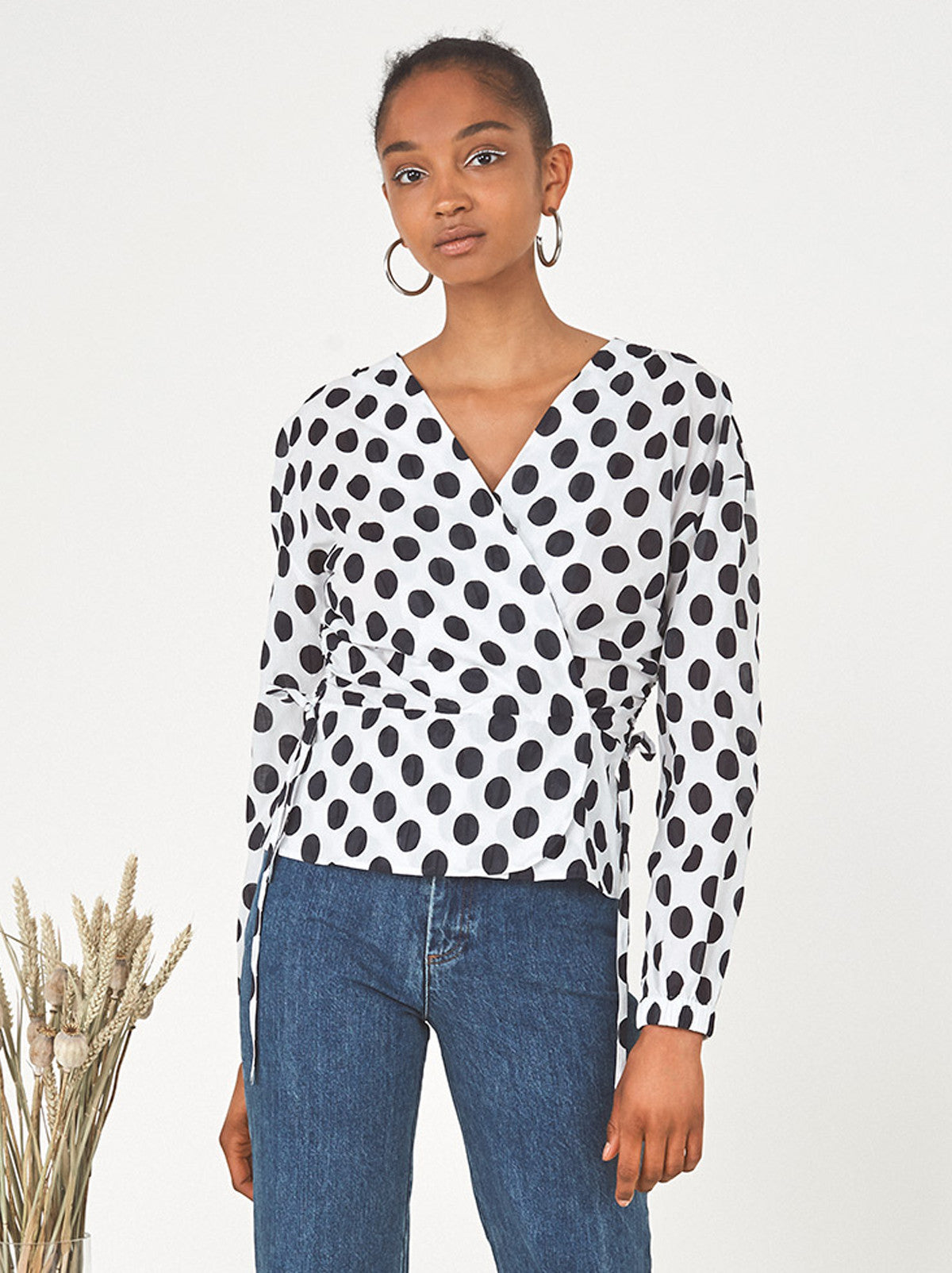 Super Vera Polka Dot Wrap Blouse | KITRI &RZ36