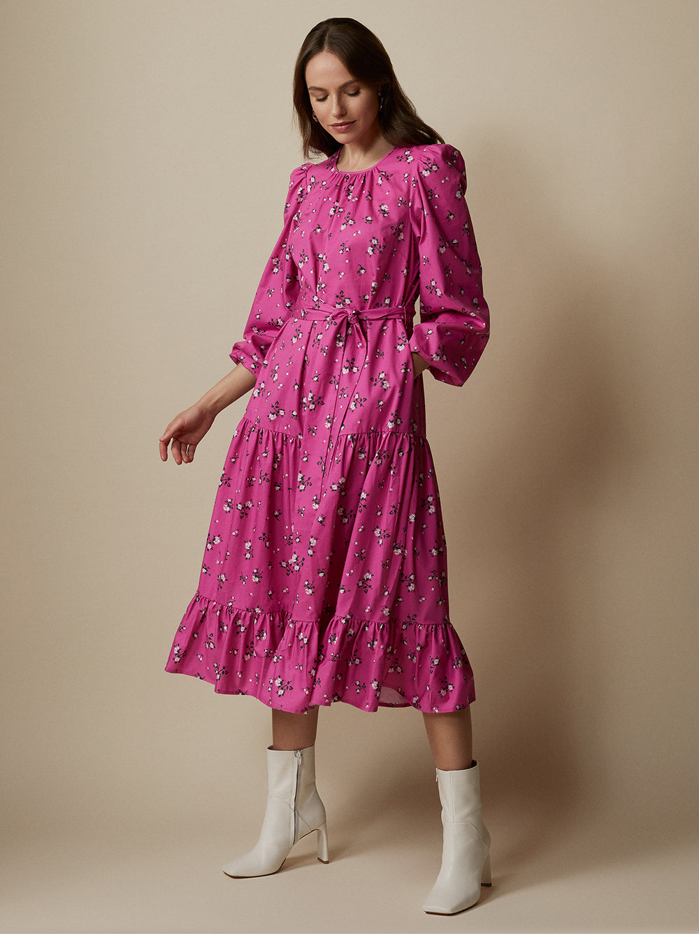 Alana Pink Floral Midi Dress by KITRI Studio