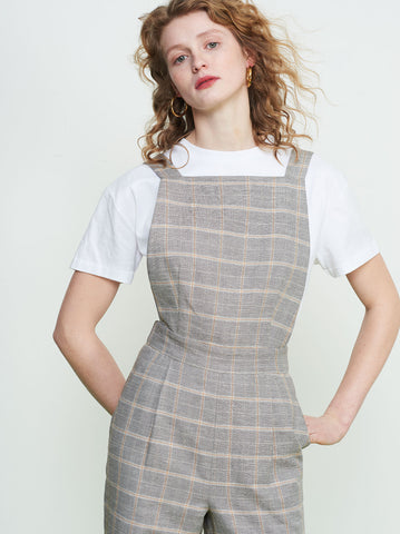 Alexa Grey Check Linen Jumpsuit by KITRI Studio