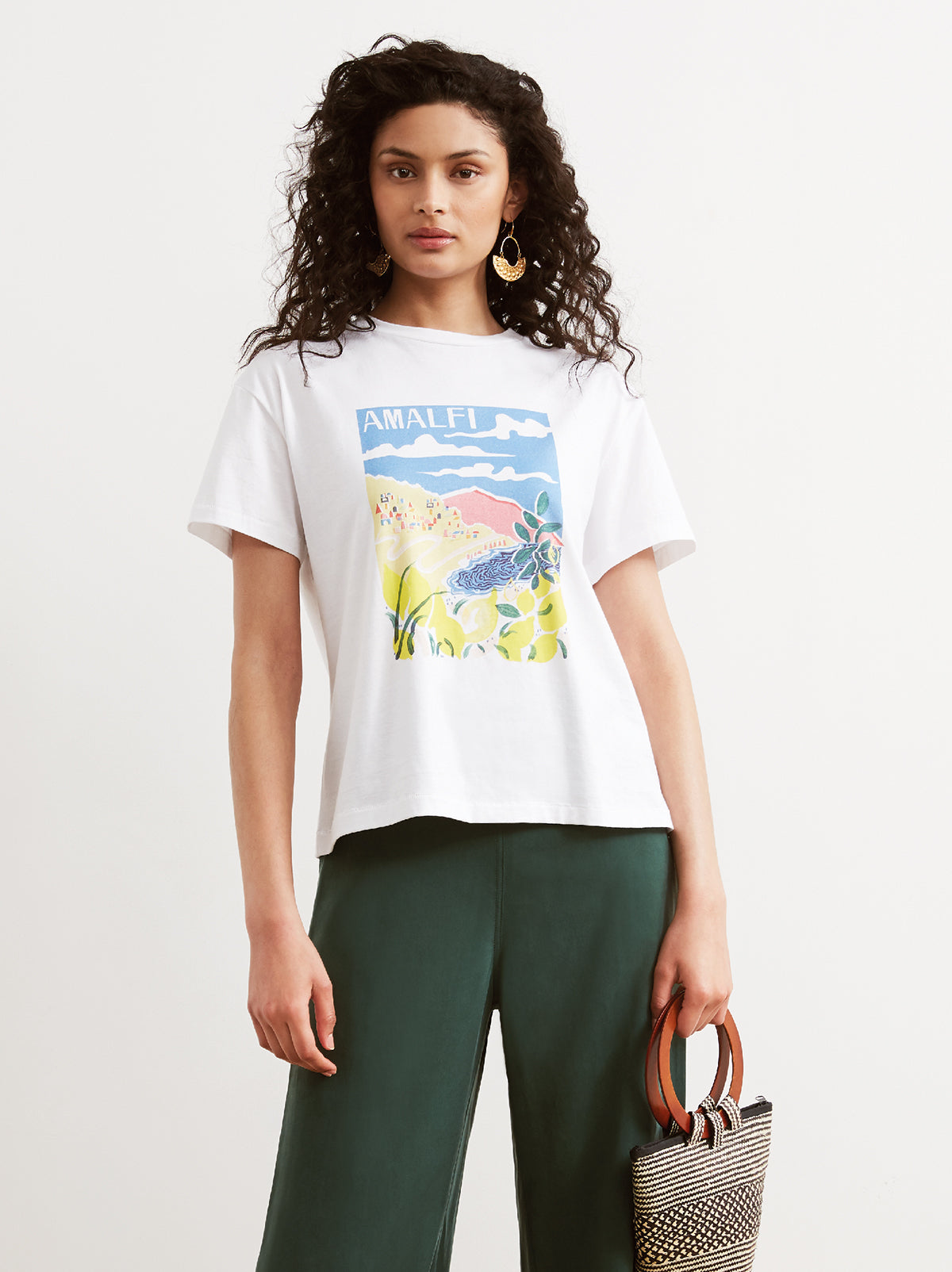 Amalfi White Printed Cotton Crew Neck T-shirt by KITRI Studio