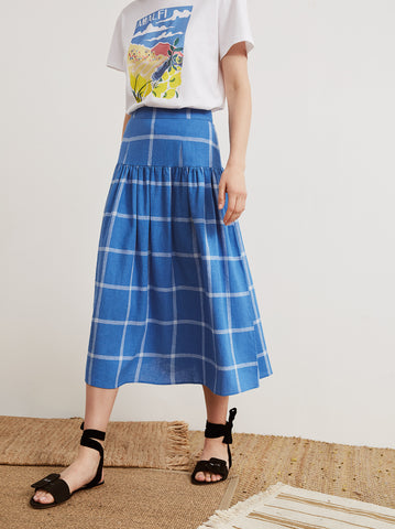 Andrea Cornflower Blue Check Midi Skirt by KITRI Studio