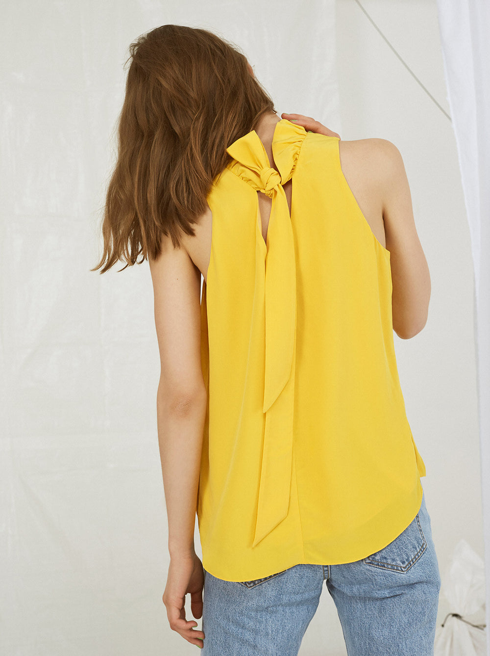 Anita Yellow Ruffle Neck Top