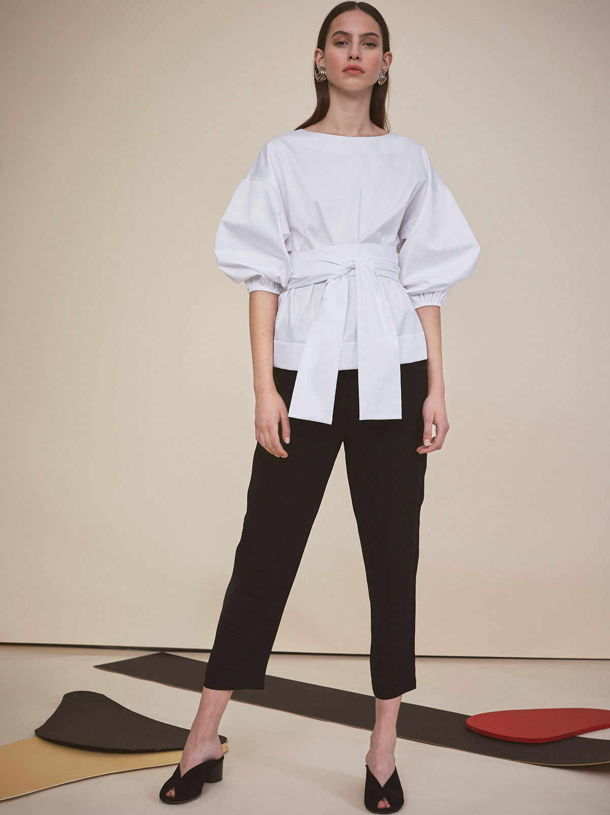 Anna White Cotton Cocoon Sleeve Shirt by KITRI Studio