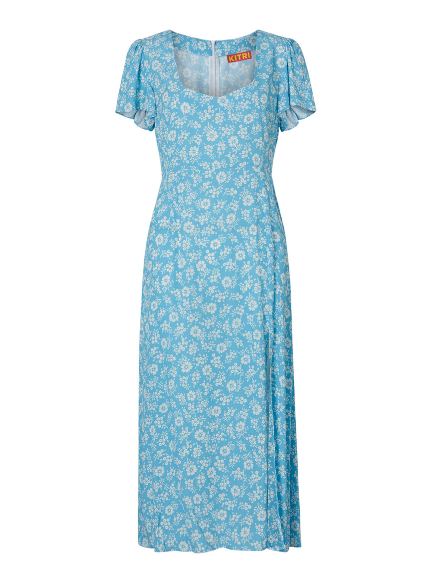 Antonella Blue Floral Midi Dress by KITRI Studio