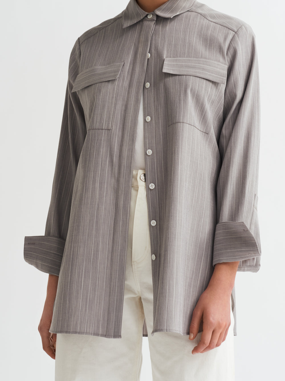 Antonella Grey Pinstripe Shirt by KITRI Studio
