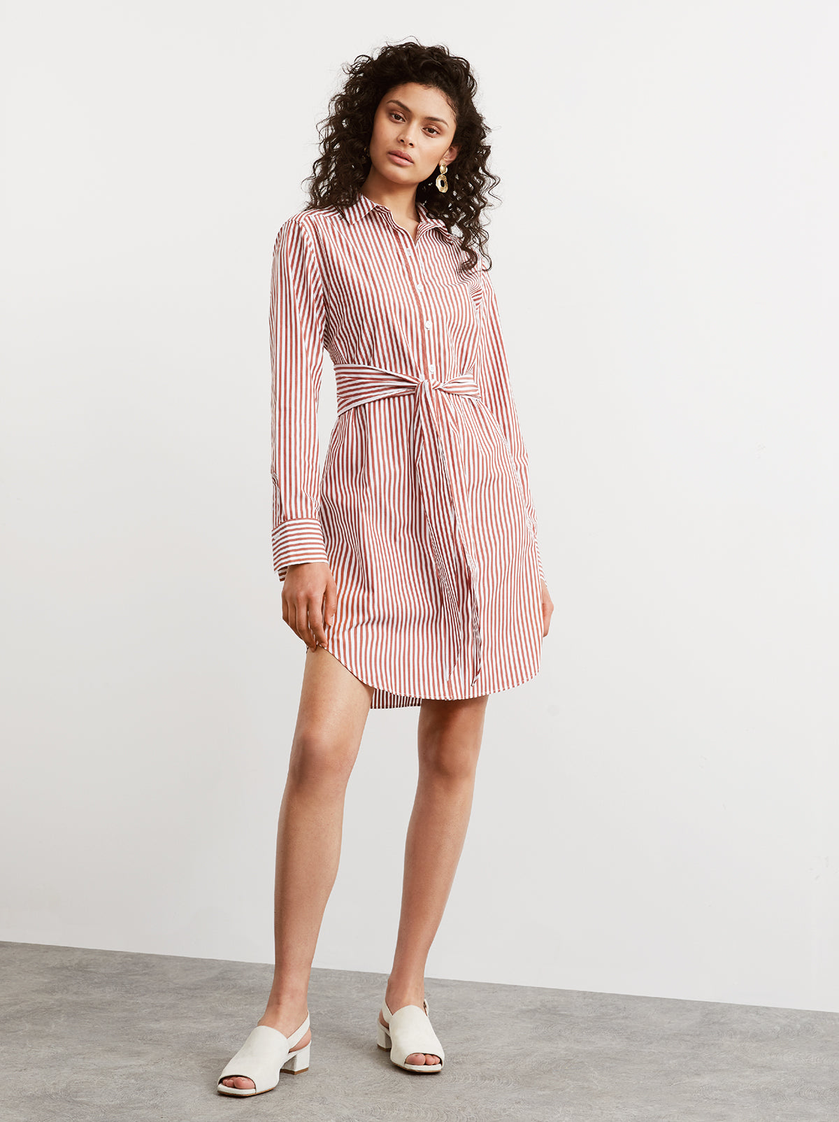 Arabella Striped Cotton Shirt Dress by KITRI Studio