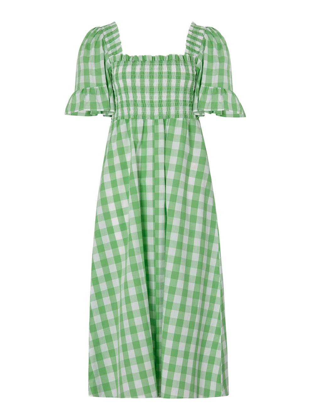 Arabella Green Gingham Shirred Dress by KITRI Studio