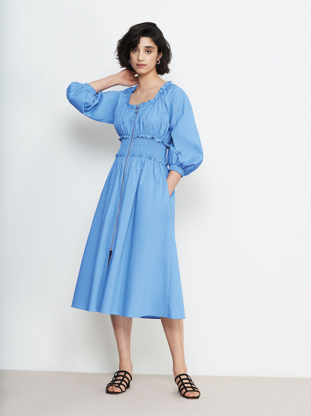 Athena Blue Smocked Waist Shirt Dress by KITRI Studio