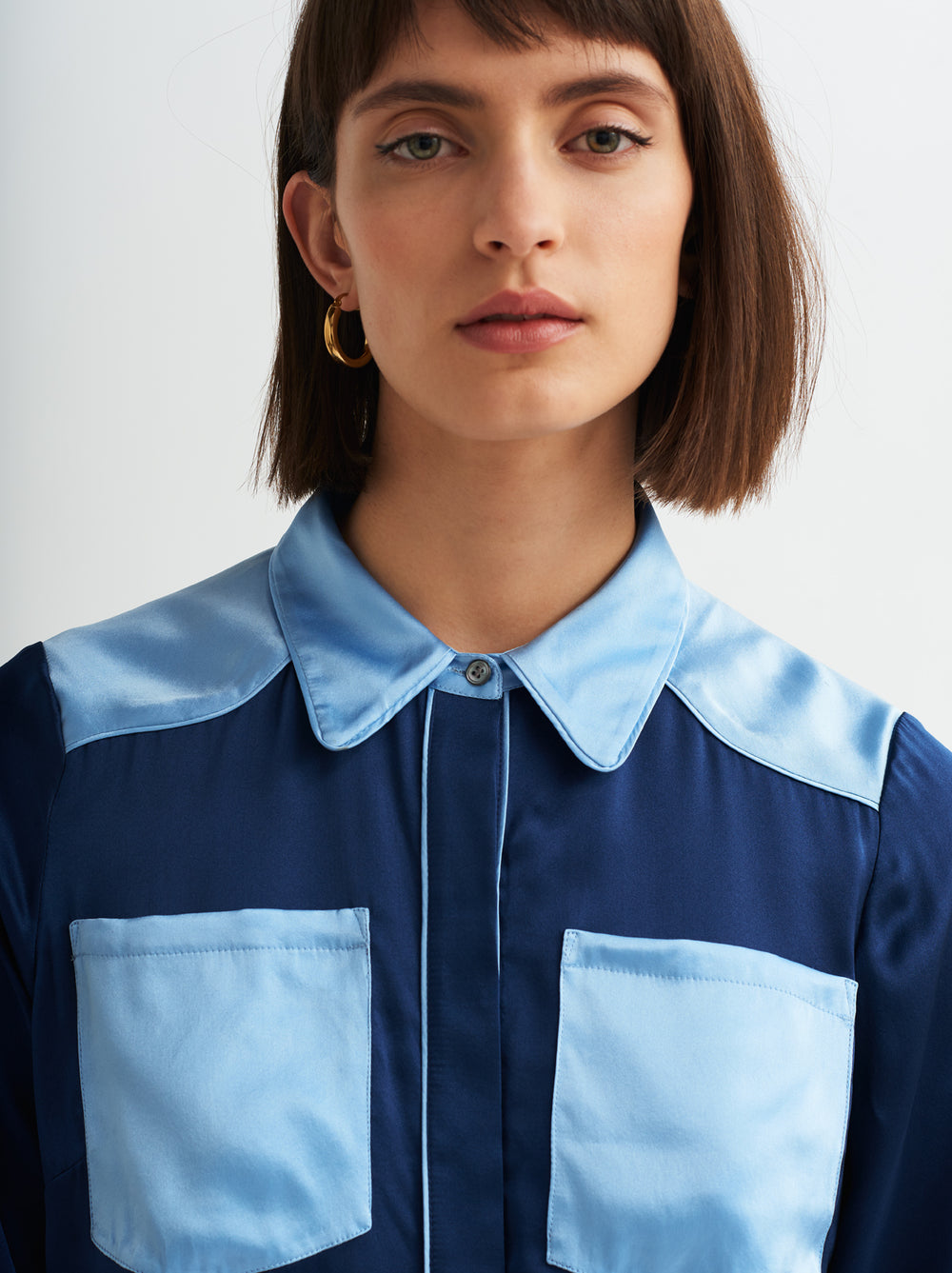 Brenna Blue Silk Western Shirt by KITRI Studio