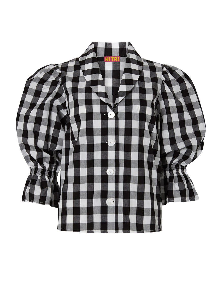 Bretta Black Gingham Top by KITRI Studio