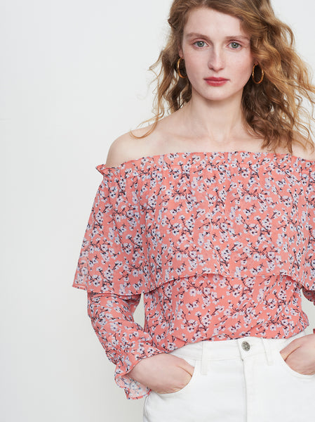 Callie Orange Floral Chiffon Bardot Top by KITRI Studio