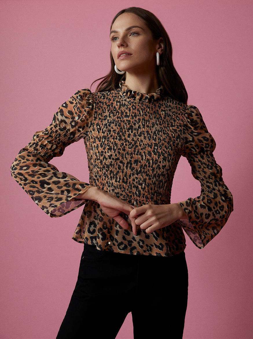 Callie Leopard Print Smocked Top by KITRI Studio