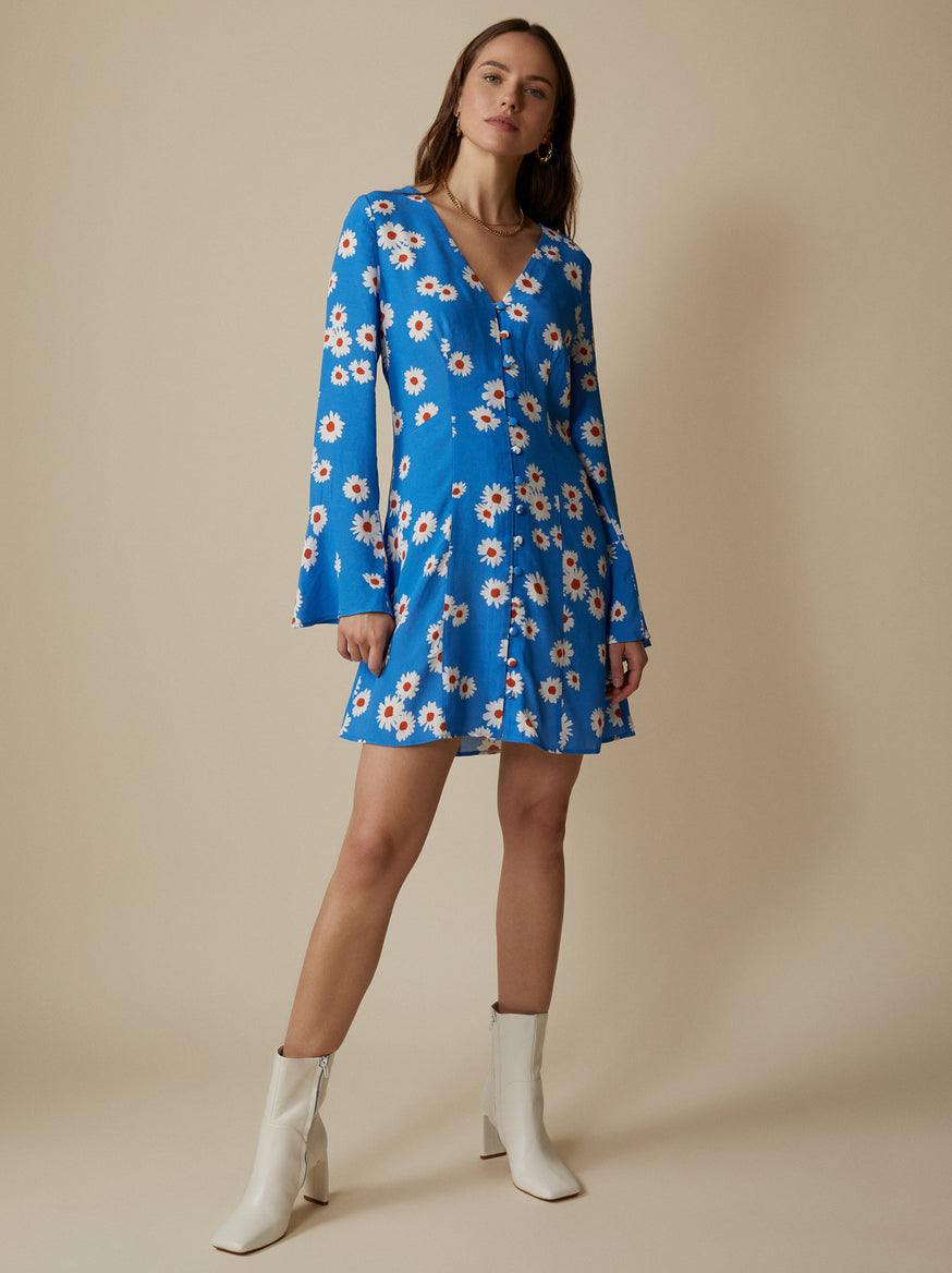 Caroline Blue Daisy Mini Dress by KITRI Studio