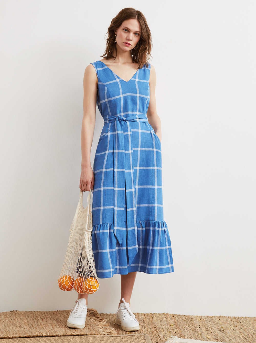 Caroline Cornflower Blue Check V-Neck Midi Dress by KITRI Studio