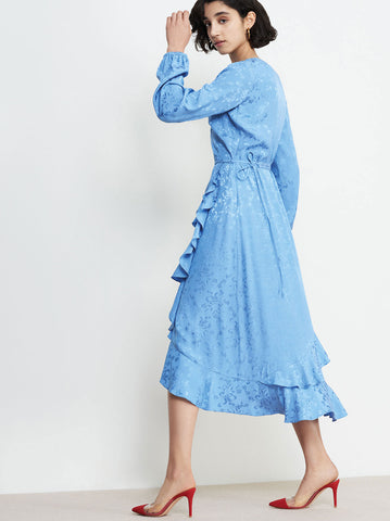 Cecilia Blue Wrap Dress by KITRI Studio