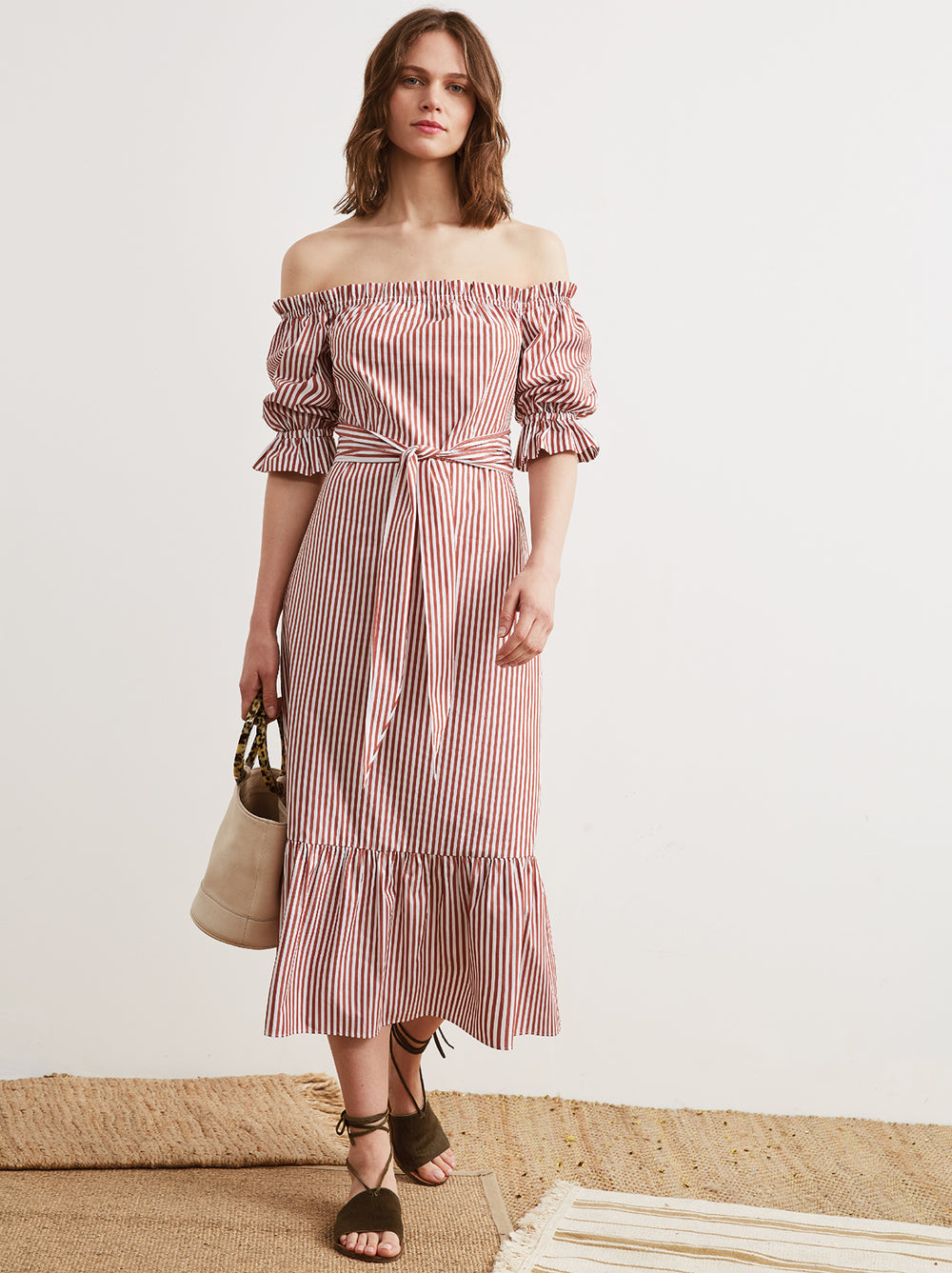 Cora Striped Cotton Bardot Summer Dress by KITRI Studio