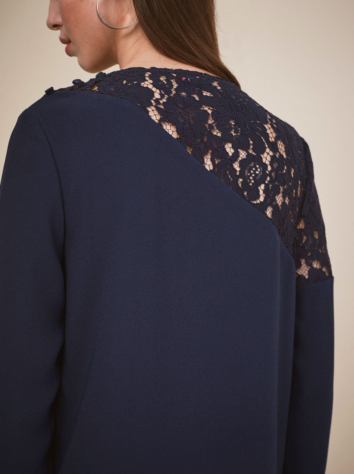 Deborah Navy Lace Top by KITRI Studio